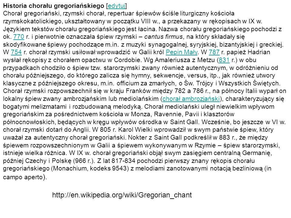 Historia chorału gregoriańskiego [edytuj]